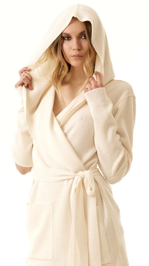 White merino open front hooded wrap womens cardigan damen strickjacke EMILIE W