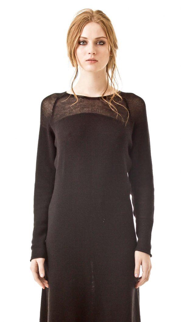 Knitted cashmere blend knee length dress CARLA