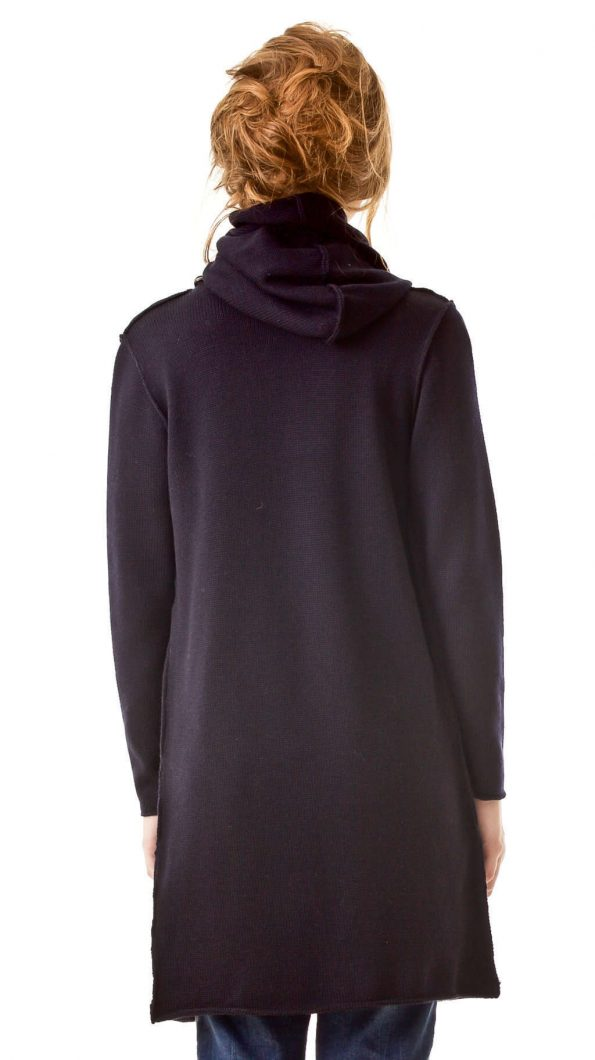 Black soft merino wool womens wrap open front hood cardigan