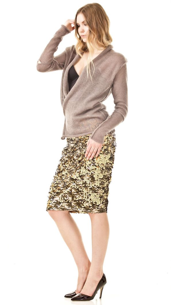 Cross front cardigan JULIETTE   Color: beige