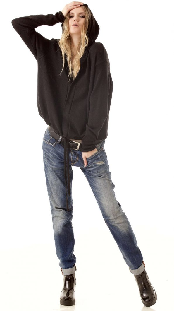Black hooded cardigan MYLENE