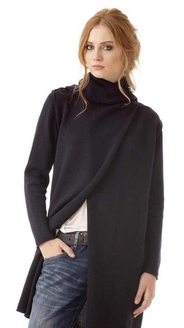 Black open front cardigan, wrap cardigan, womens sweater, black hooded cardigan