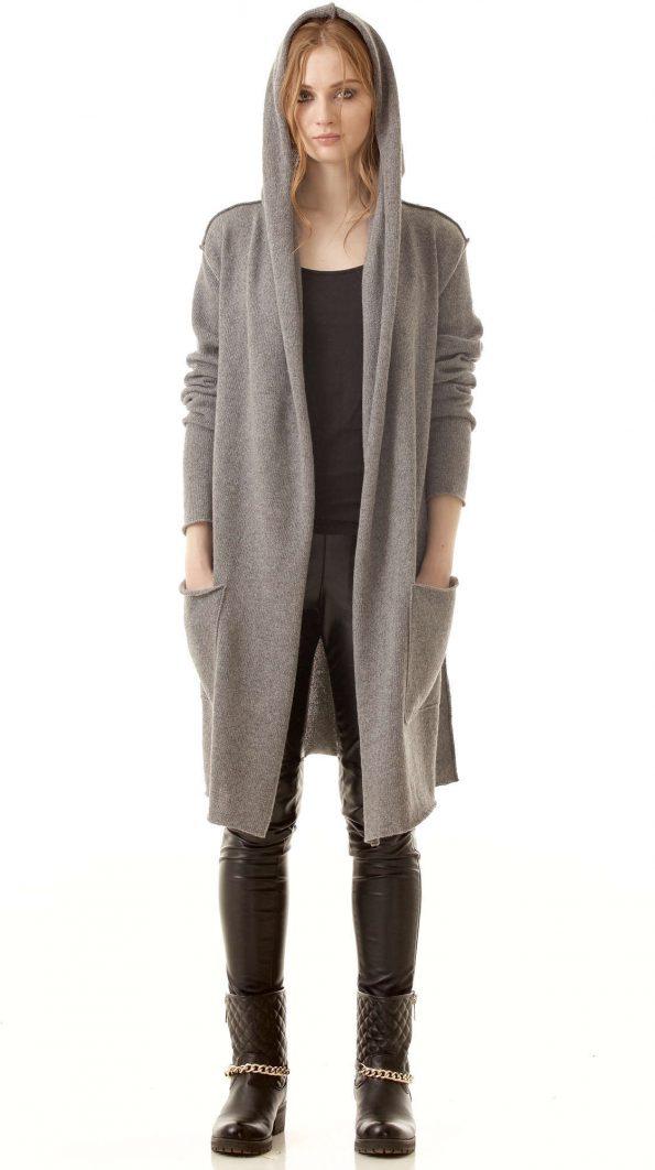 Grey cashmere womens cardigan EDITH