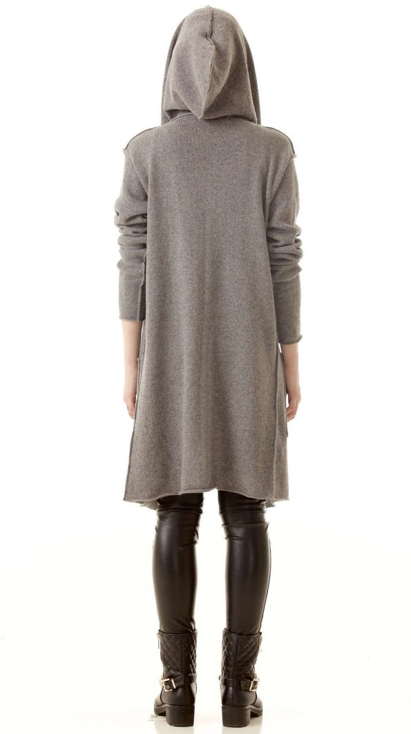Grey cashmere womens cardigan EDITH from back