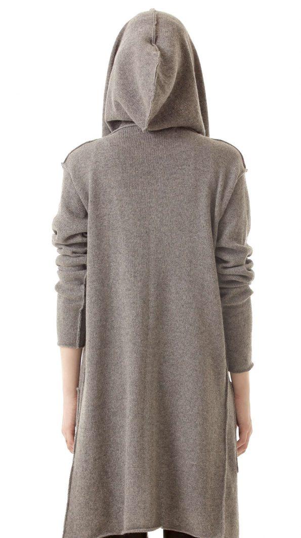 Grey cashmere cardigan EDITH back