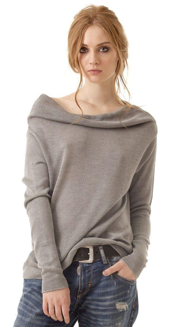 Grey cashmere off shoulder cowl neck sweater pullover jumper AGNES