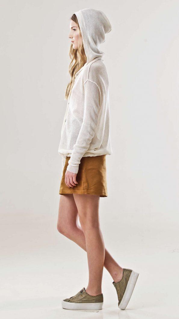 White linen cardigan MYLENE
