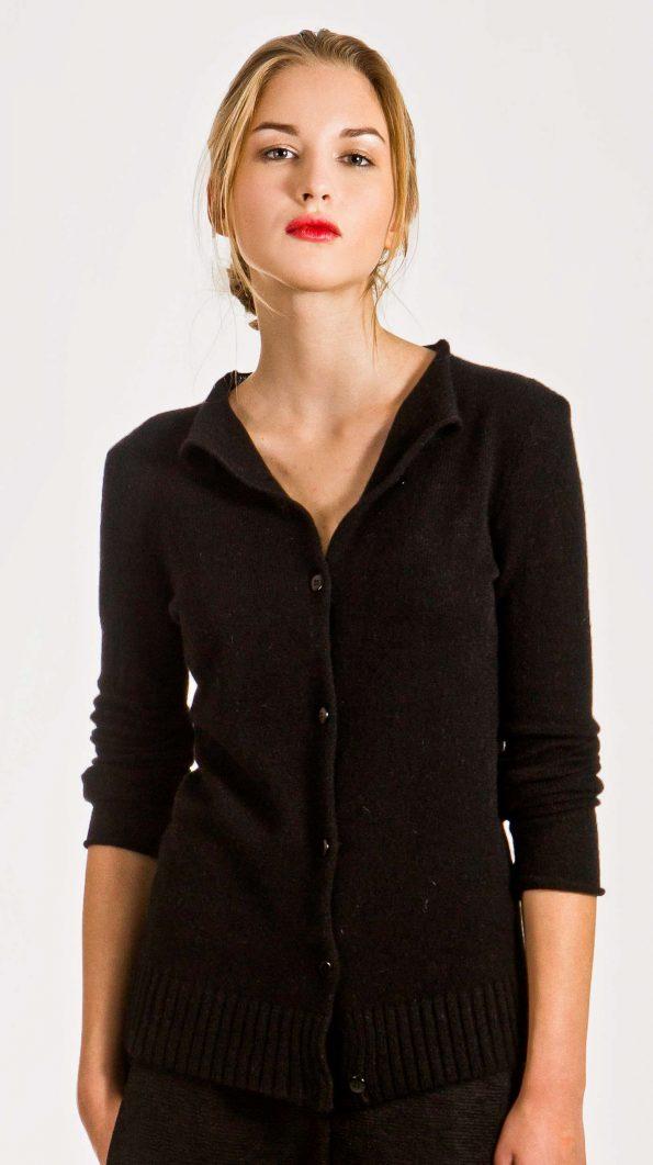 black short cashmere cardigan
