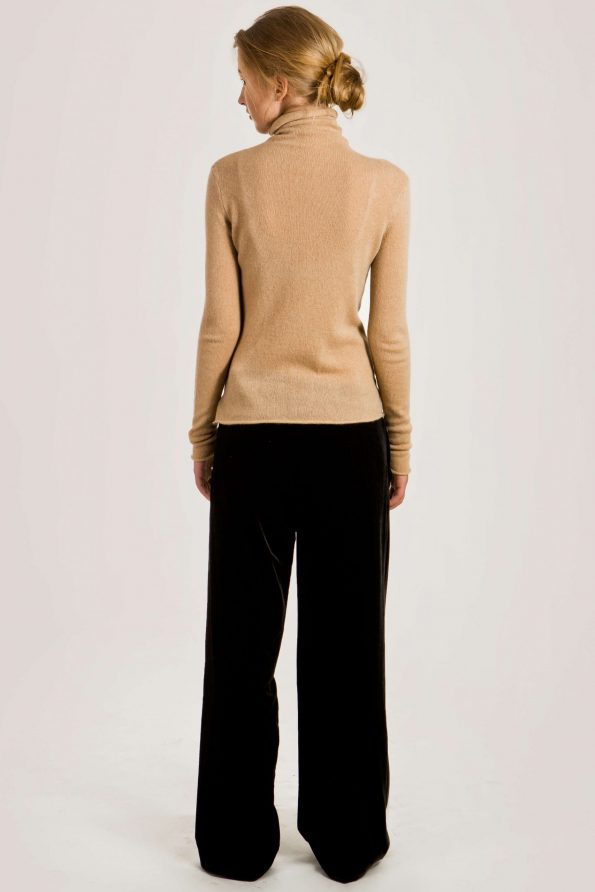 Camel cashmere turtleneck womens sweater damen pullover MARGO   Cashmere sweaters and cardigans by Krista Elsta Knitwear
