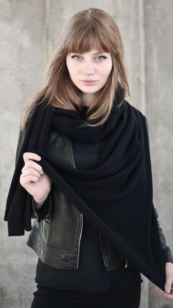 Extra long black cashmere scarf wrap KIM