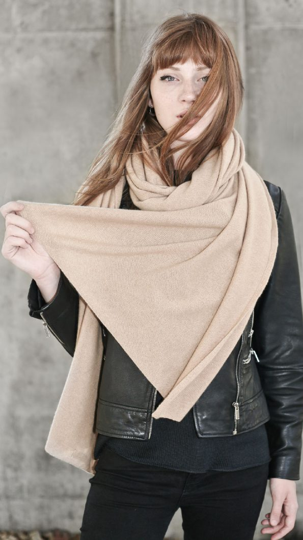Extra long camel cashmere scarf wrap Alex