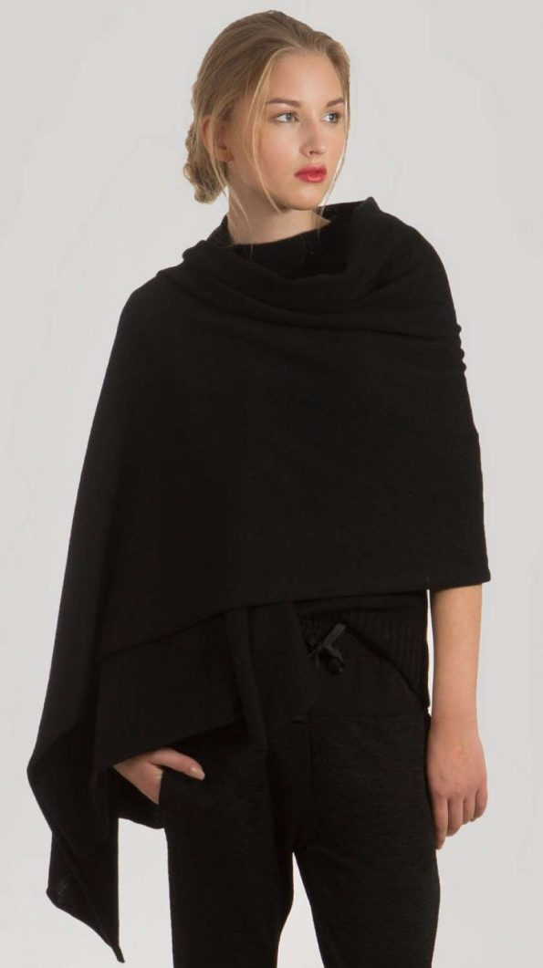 black cashmere scarf travel wrap 70 x 220 cm 27 x 86 inches