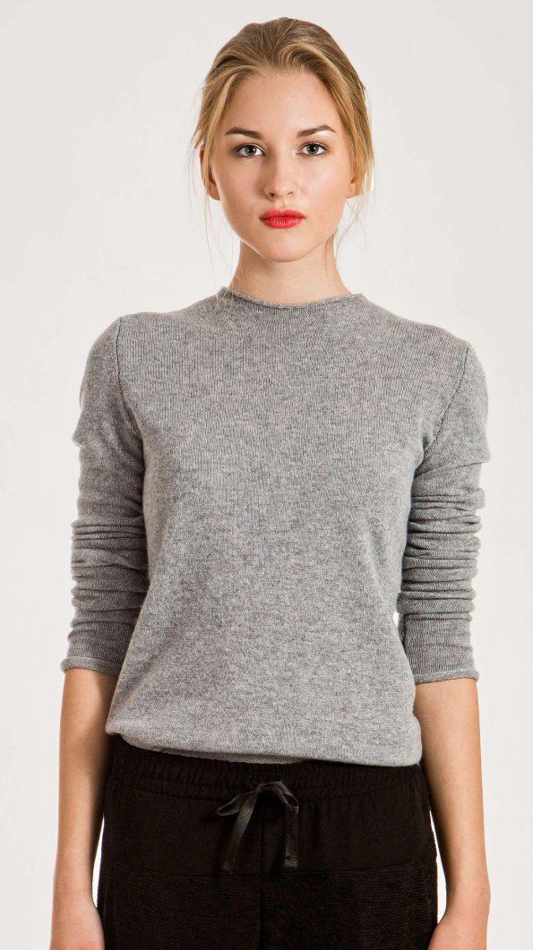 grey cashmere crew neck sweater