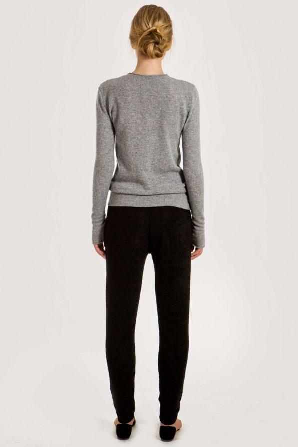 Grey cashmere crew neck sweater damen pullover KAREN