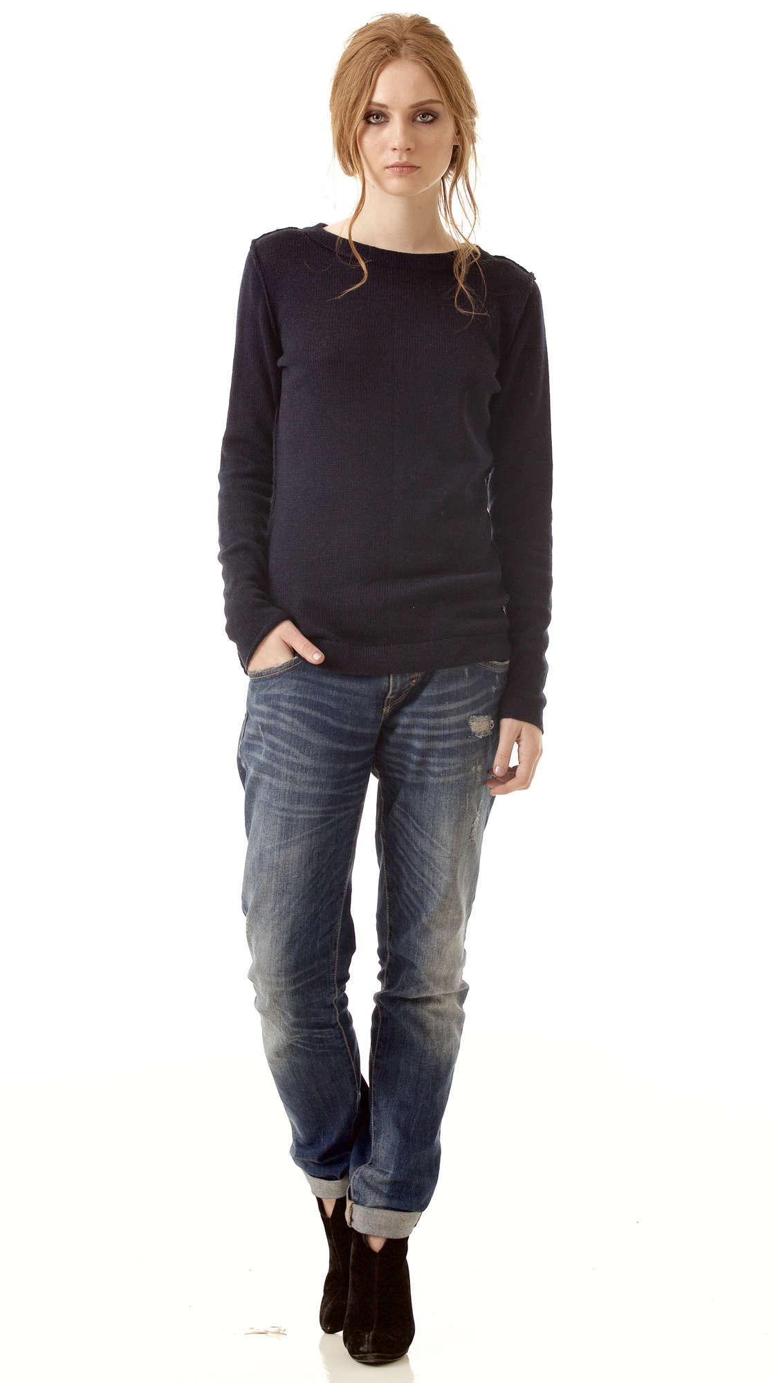 Black cashmere womens sweater damen pullover ELSA