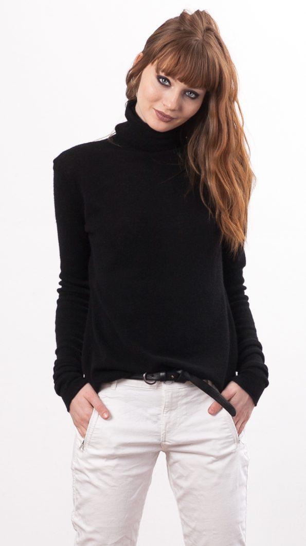 Black turtleneck cashmere sweater KATE