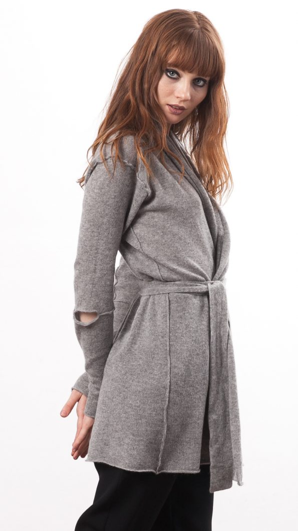 grey cashmere wrap cardigan open front