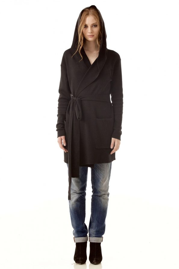 Black merino wrap open front hooded womens cardigan damen strickjacke EMILIE B