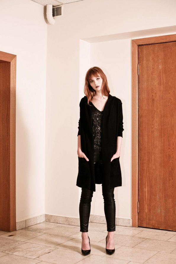 Black cashmere womens hooded cardigan kaschmir strickjacke mit kapuze EDITH BLACK