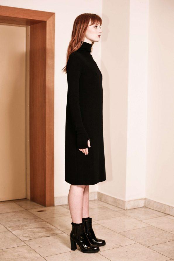 Black merino turtleneck knee length dress JANET