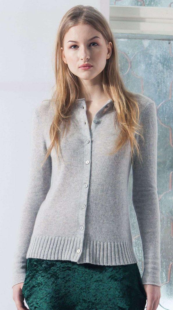 short grey cashmere cardigan sweater womens