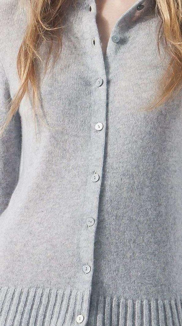 Grey short cashmere womens cardigan sweater kaschmir strickjacke damen HELEN GREY