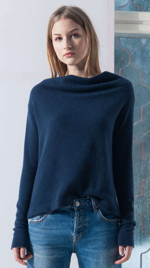 womens sweater, sweater womens, cashmere sweater, cashmere sweater womens, navy sweater, dark blue sweater, black sweater, knit sweater, off shoulder jumper, wool pullover, women wears soft wool sweater and stands near window, young woman clothing