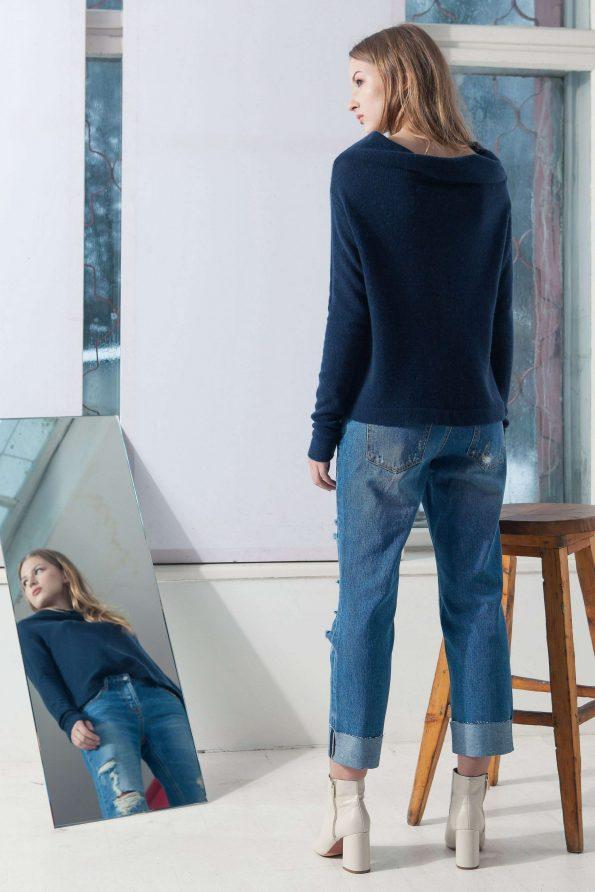 Navy cashmere off shoulder womens sweater kaschmir damen pullover AGNES NAVY