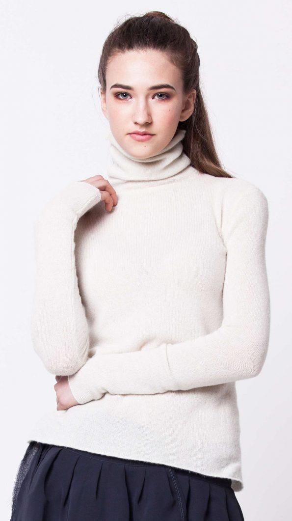 White cashmere turtleneck womens ladies sweater kaschmir damen pullover MARGO