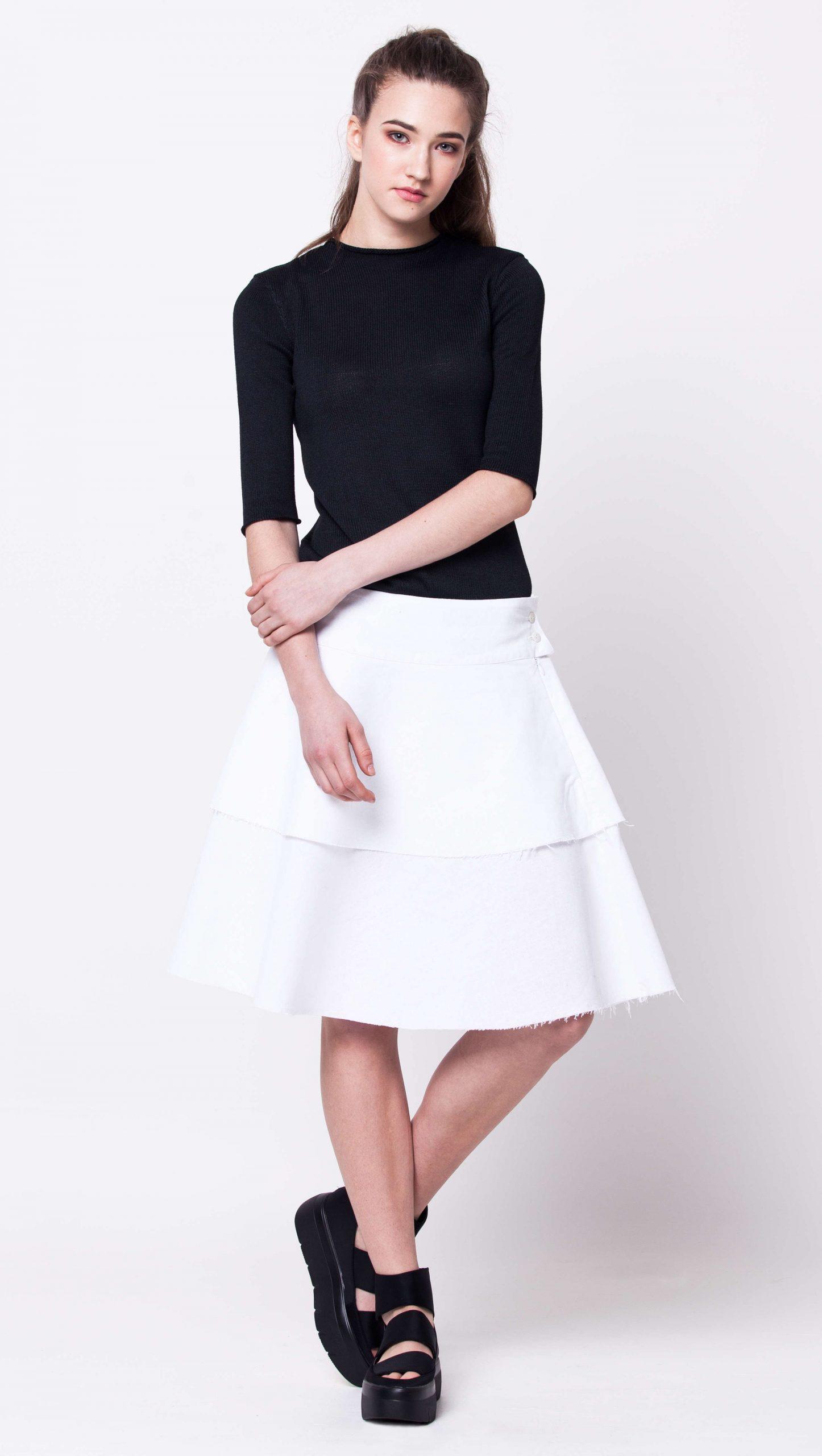 White linen layered womens ladies skirt damen rock weiss MARGRET