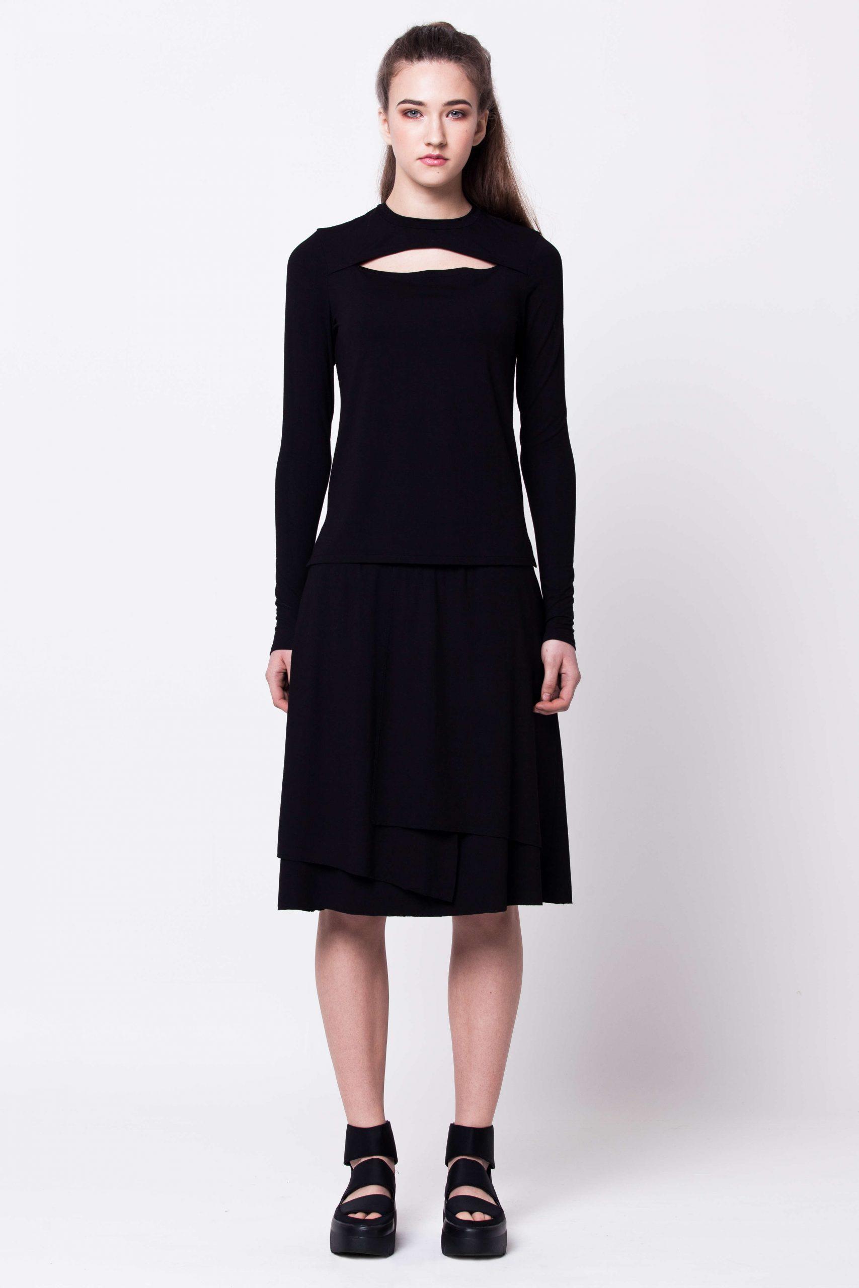 Black womens ladies damen top and skirt set co-ord HANNA