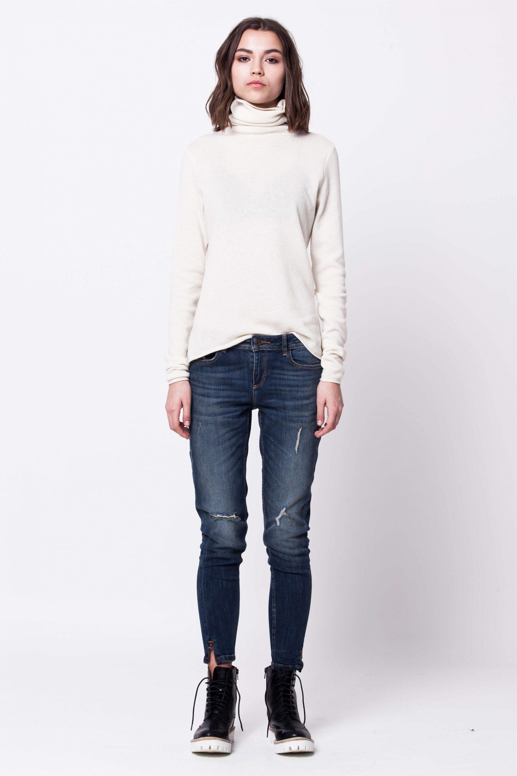 White cashmere turtleneck womens ladies sweater kaschmir damen pullover KATE WHITE