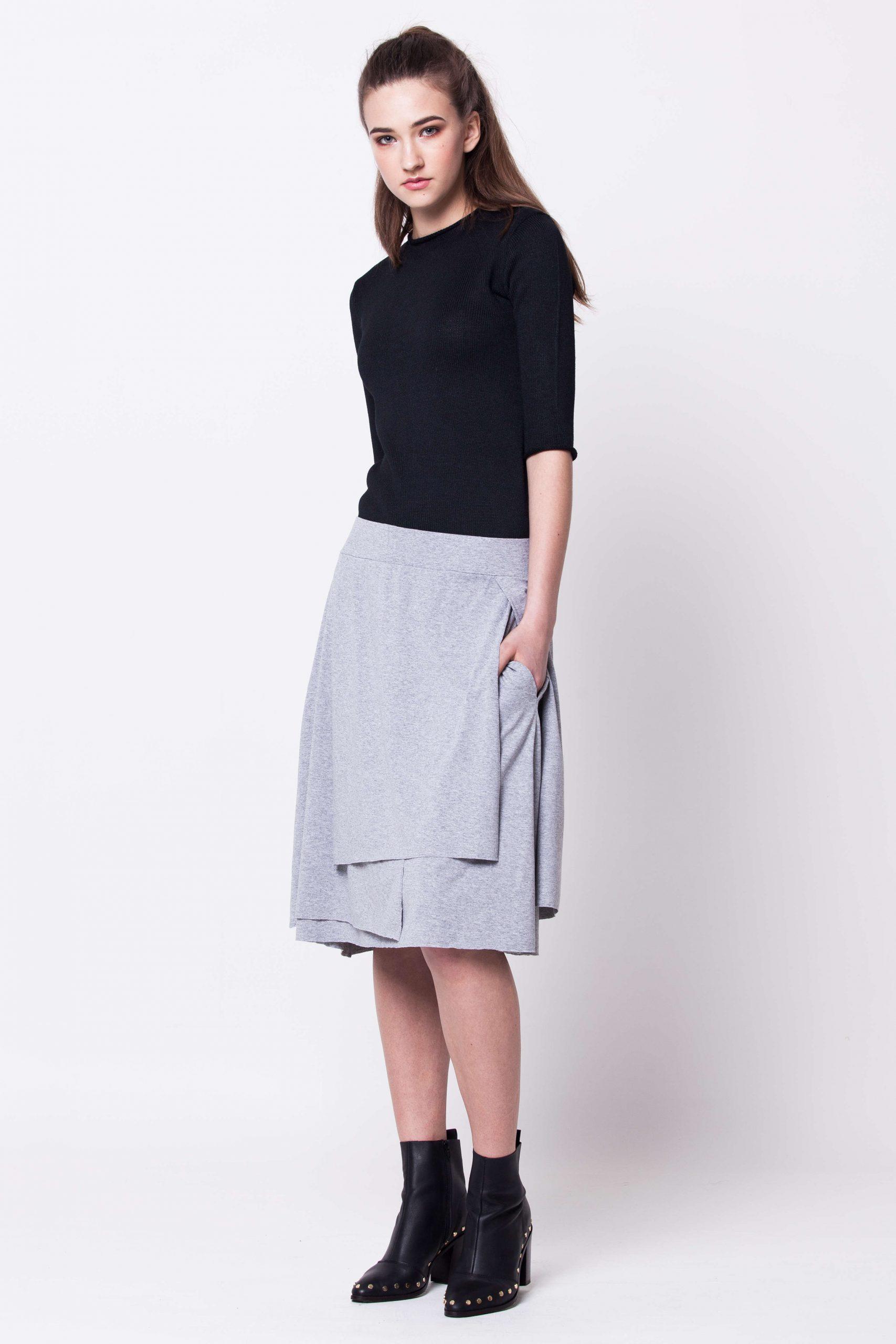 Grey layered jersey womens ladies skirt graue damen rock HANNA GREY