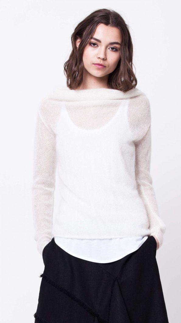 White mohair cowl neck sweater LISA