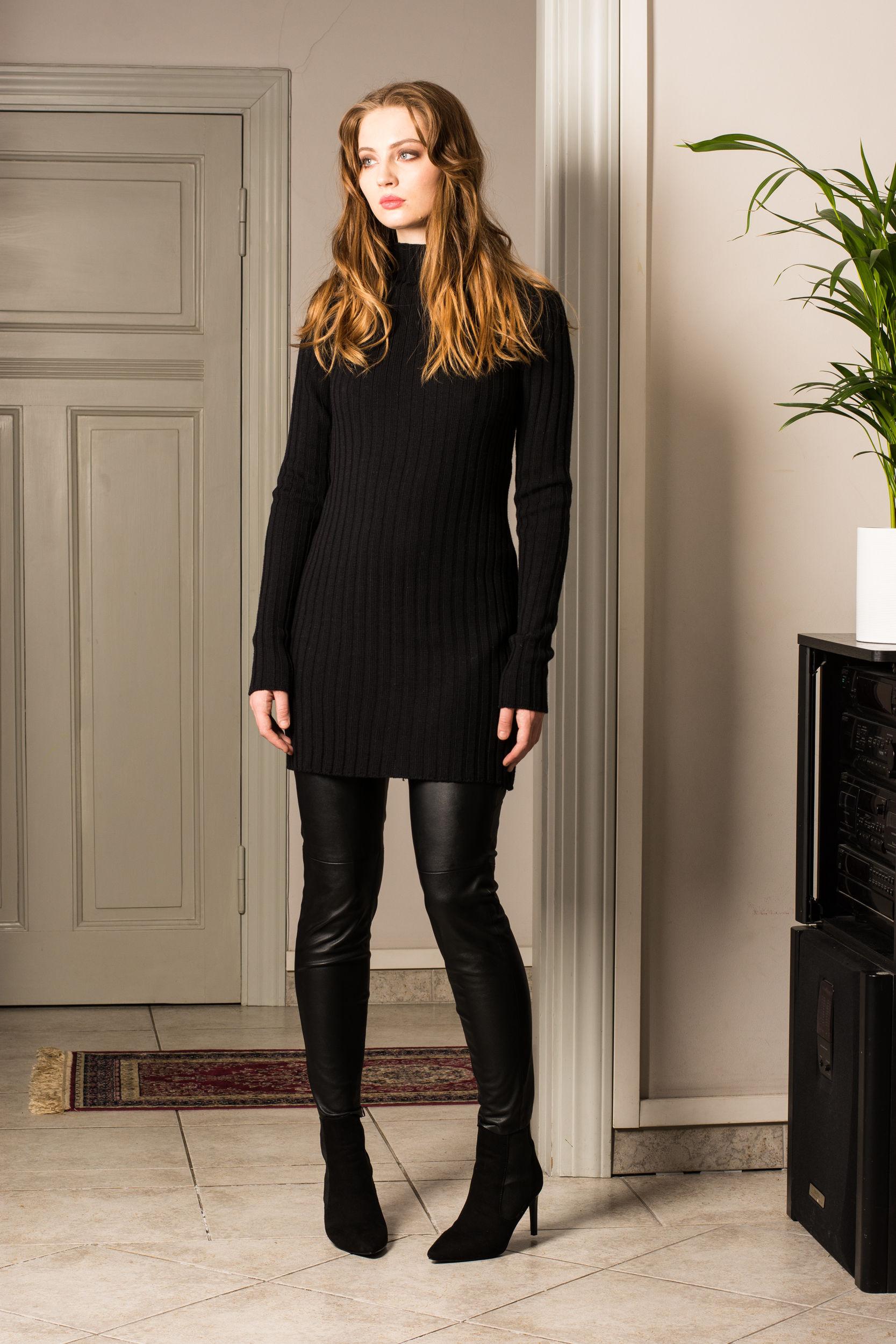 Black merino ribbed womens sweater jumper DUFFY