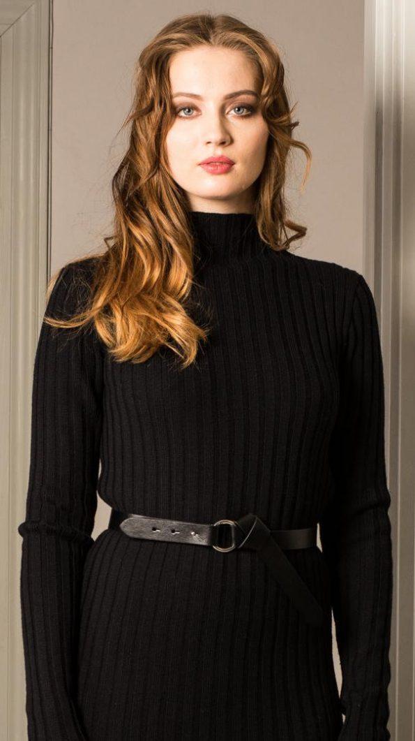 Black merino ribbed womens sweater skirt DUFFY