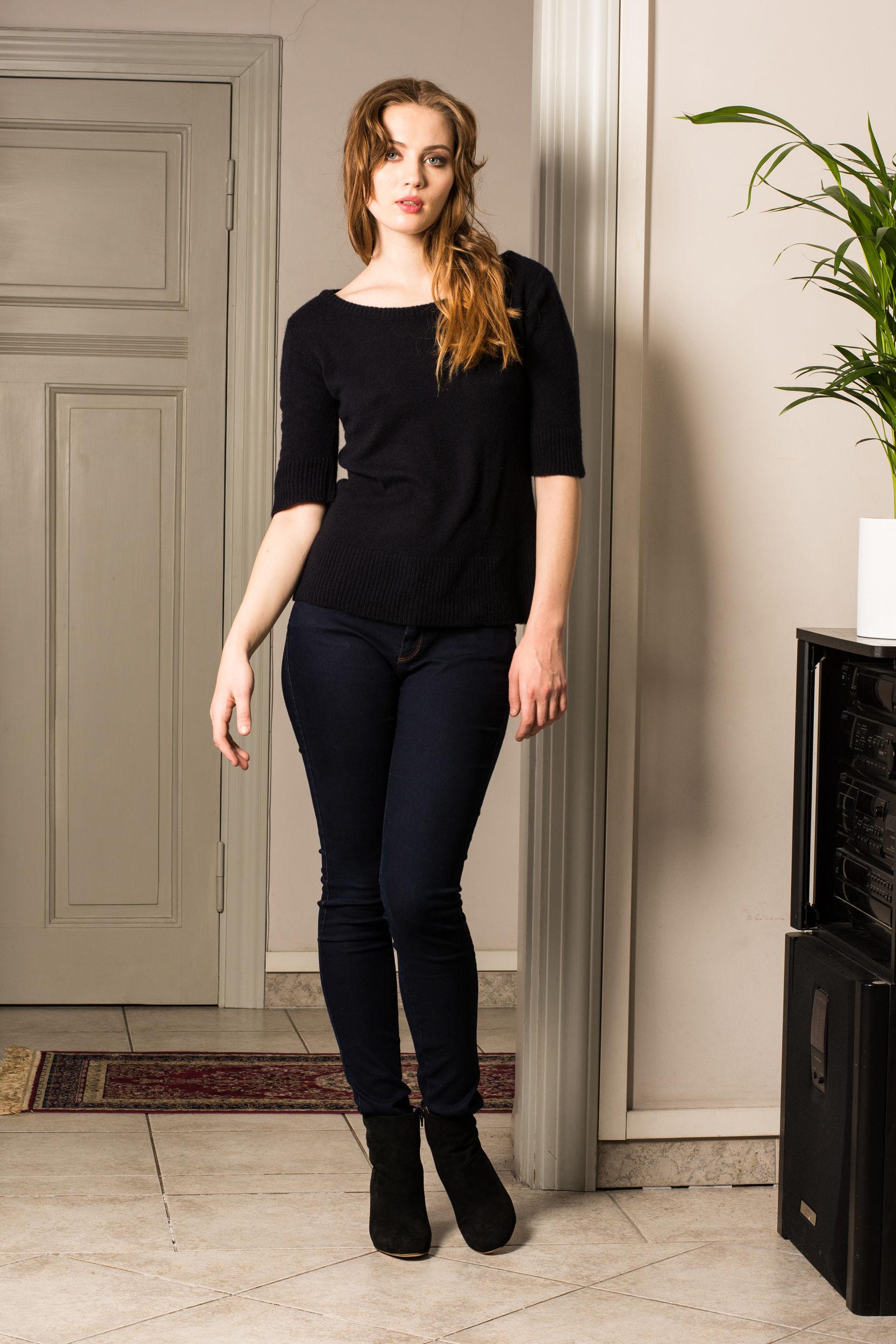 Dark blue cashmere short sleeve womens sweater pullover jumper BEA