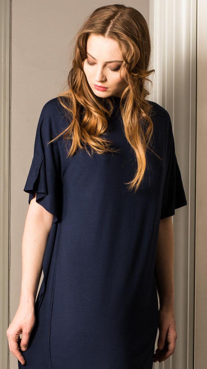 Dark blue simple jersey dress LYNN