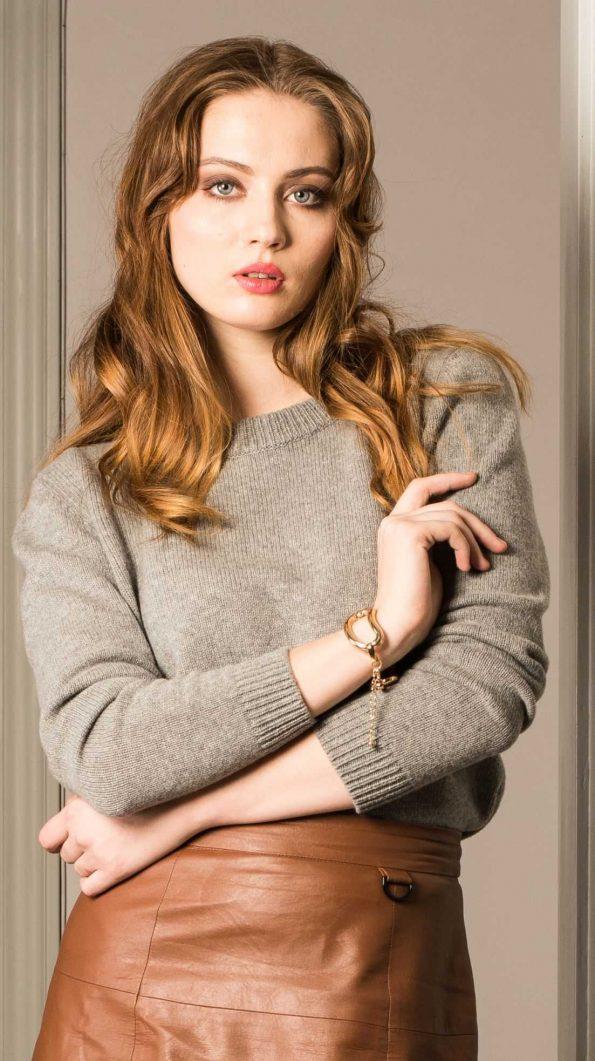 Grey cashmere crew neck womens sweater jumper JENNY