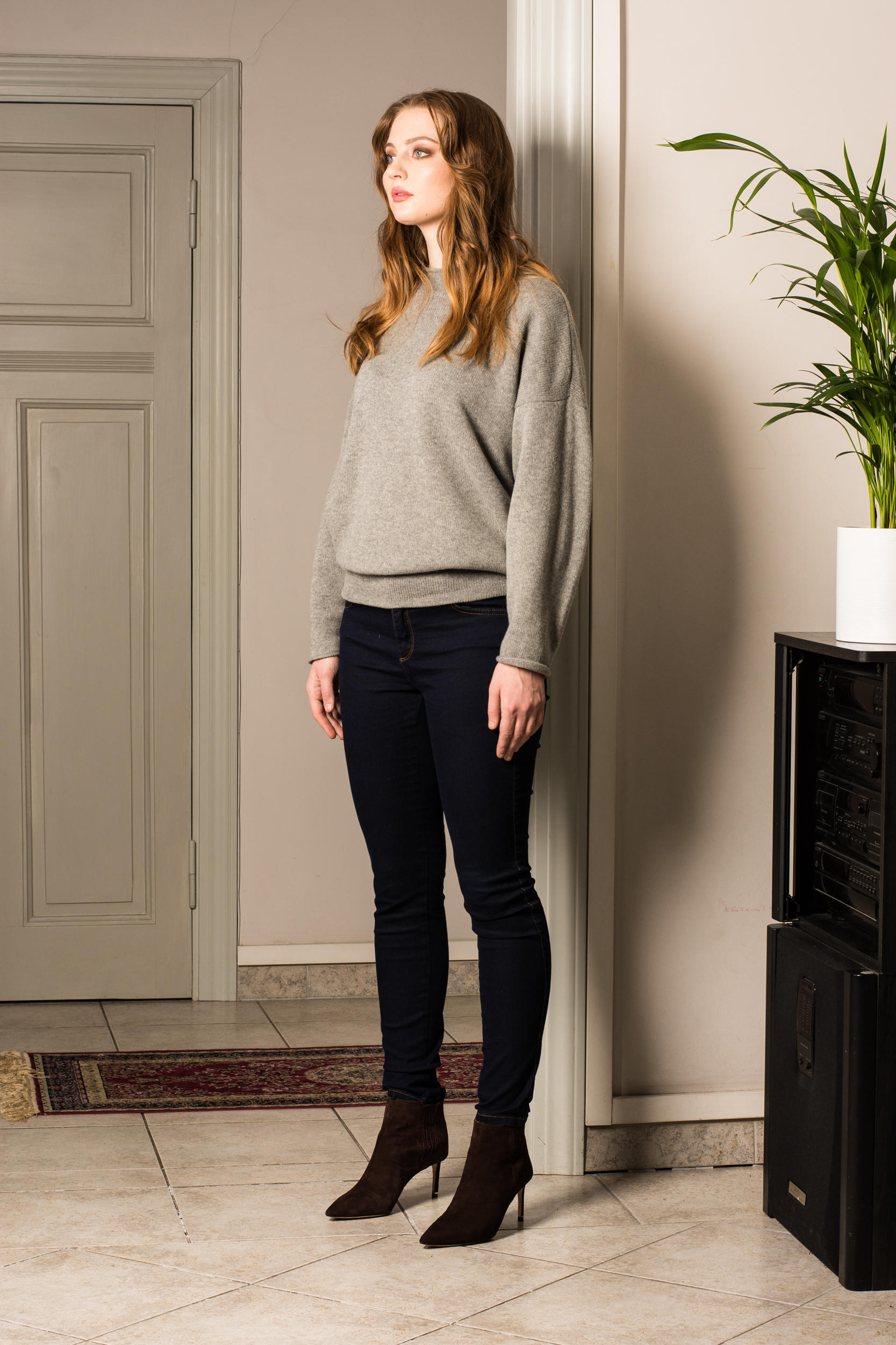 grey cashmere sweater womens long sleeves
