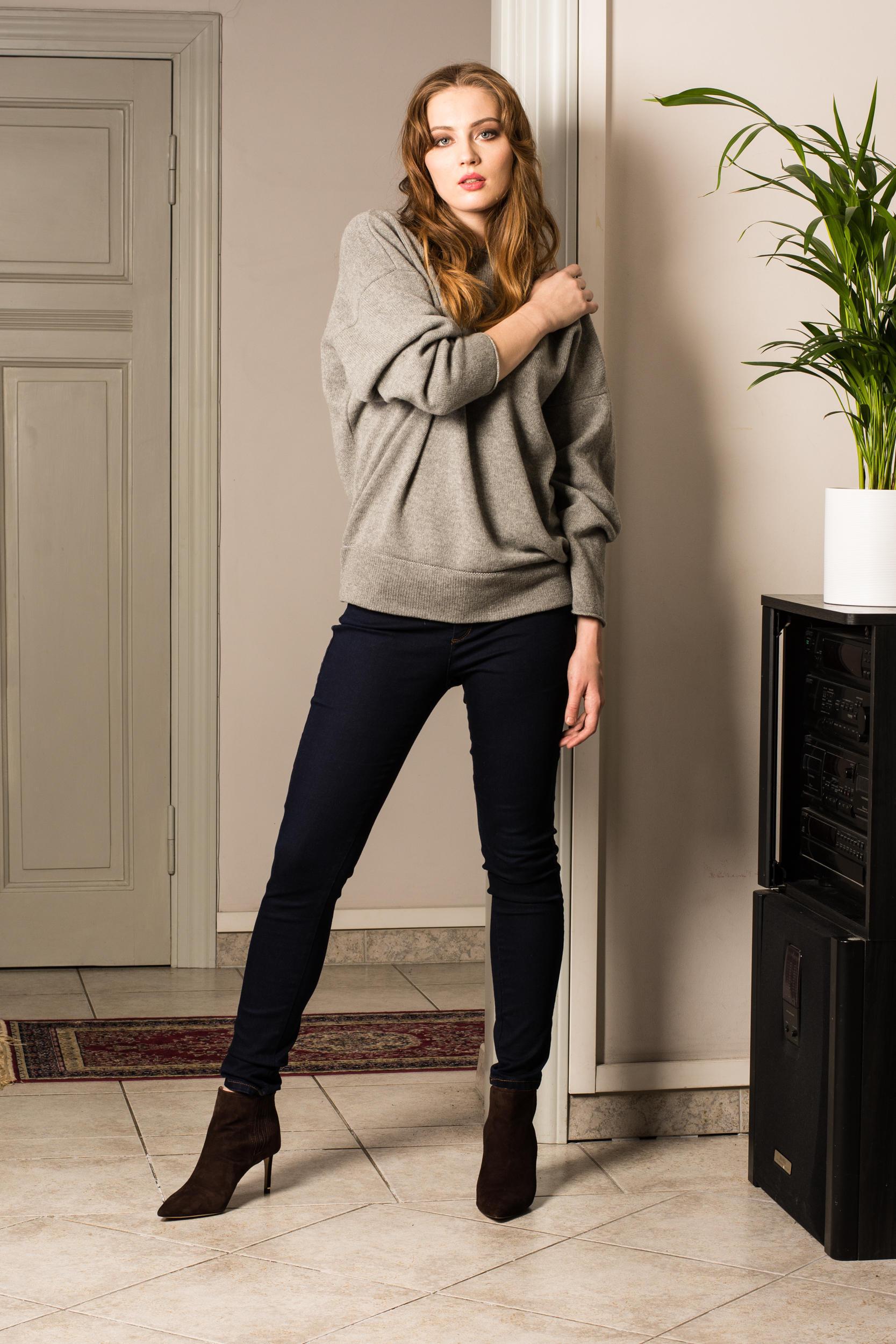 grey cashmere sweater womens 100% Italian cashmere