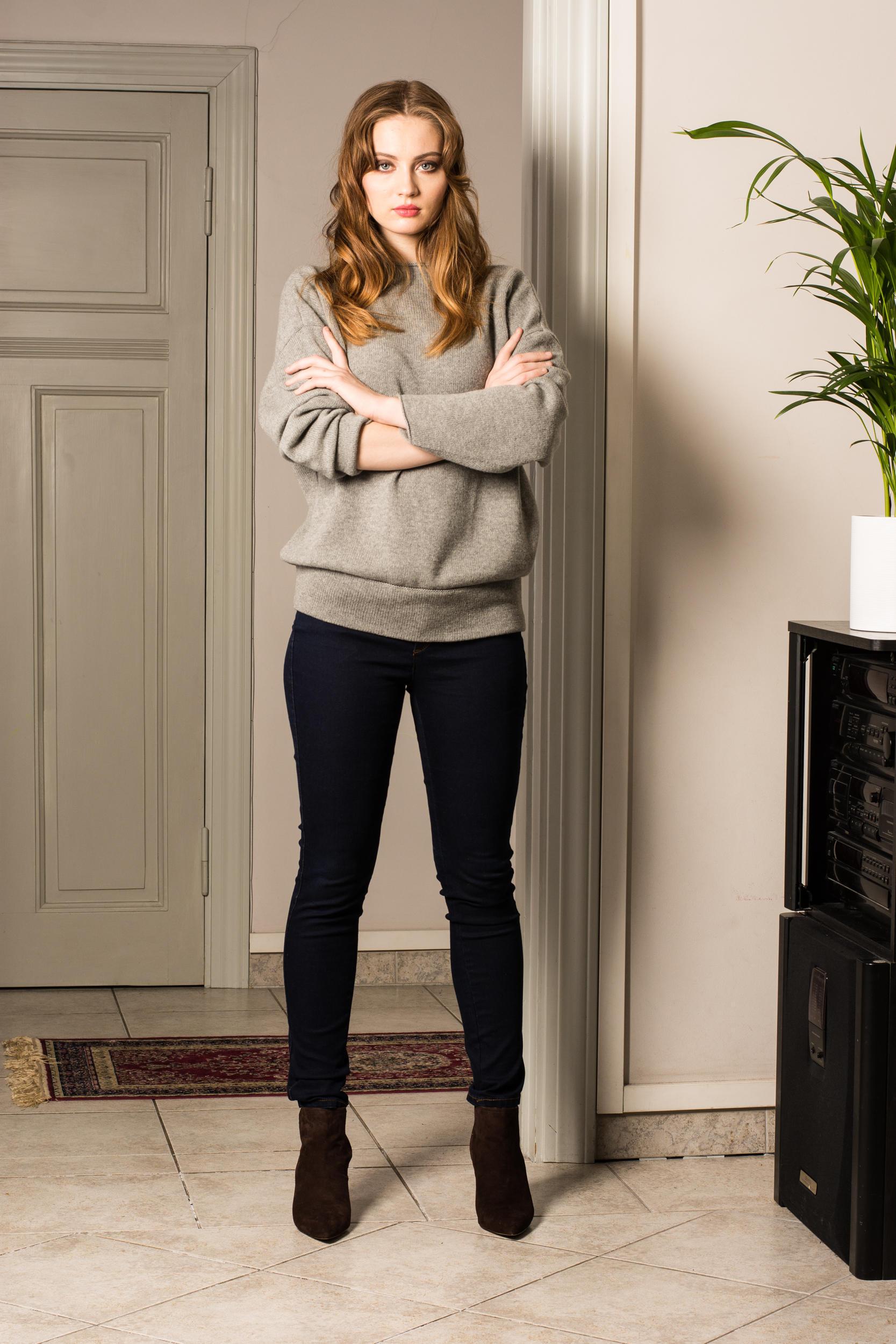 Grey cashmere womens sweater GRACE