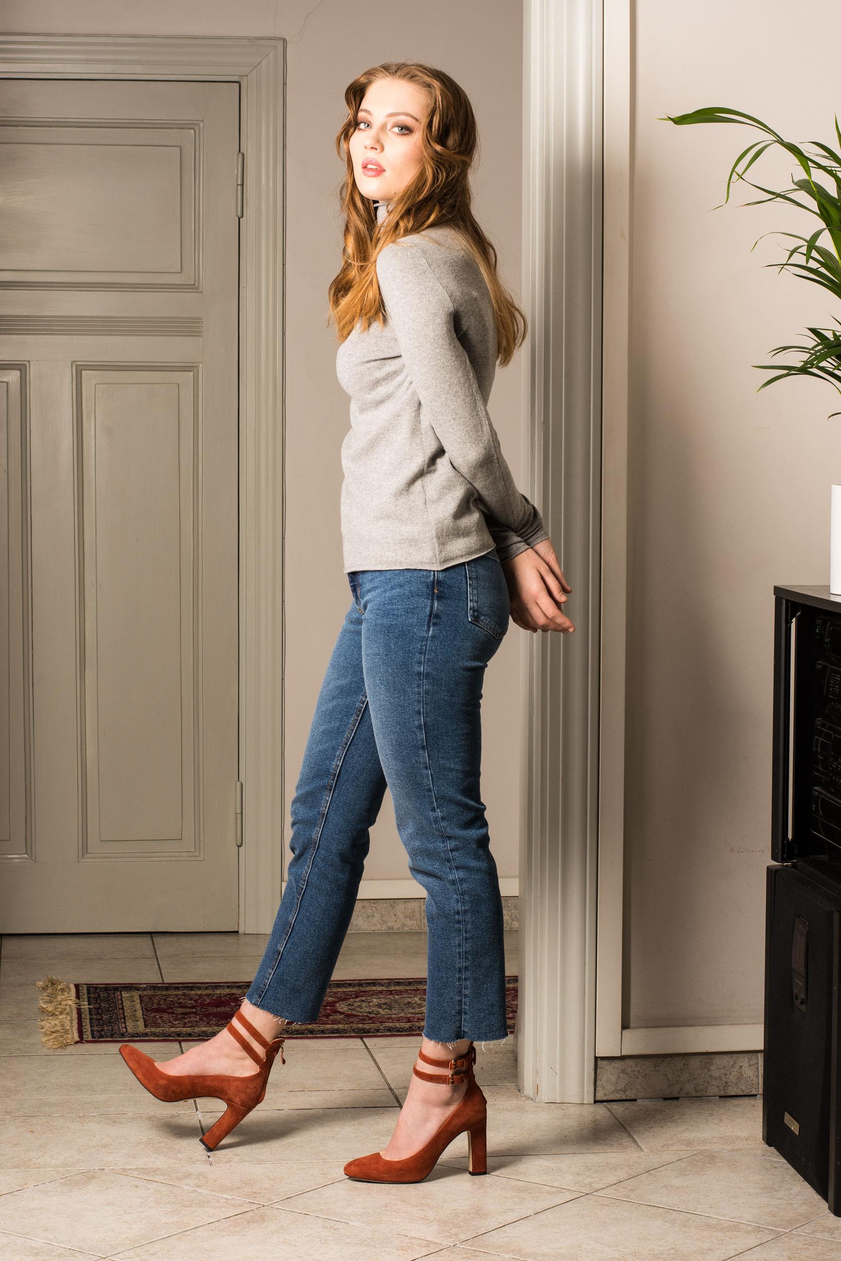 Grey cashmere womens turtleneck sweater KATE