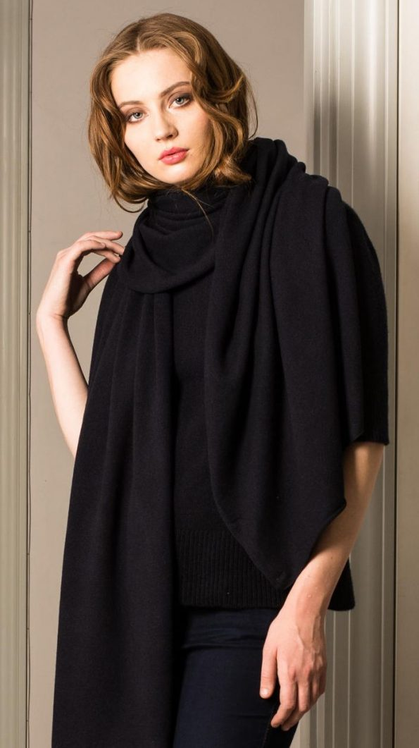 Dark blue cashmere womens scarf travel wrap LEA WIDE