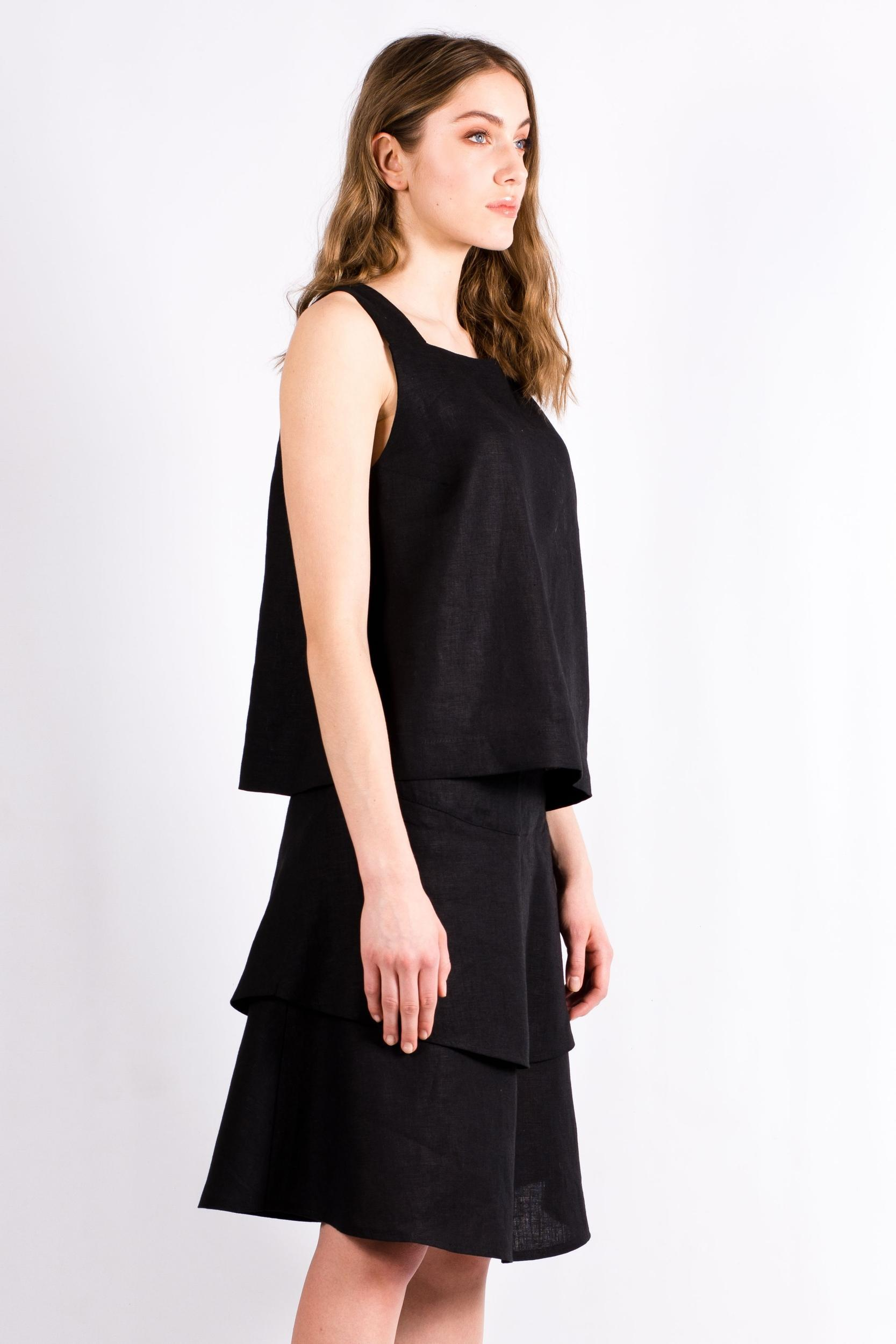 Black linen womens top skirt set