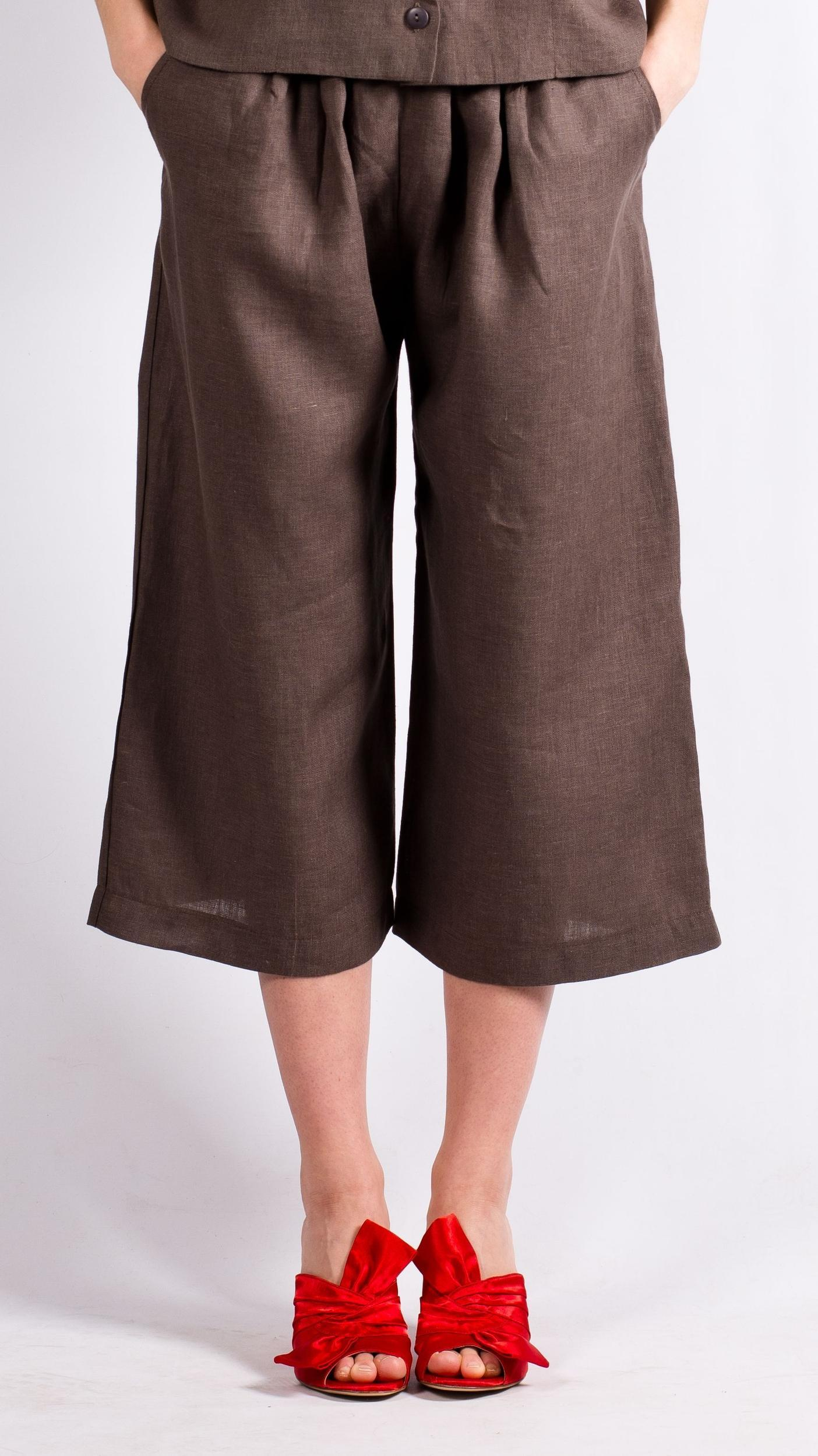 Brown linen womens pants DAGMAR