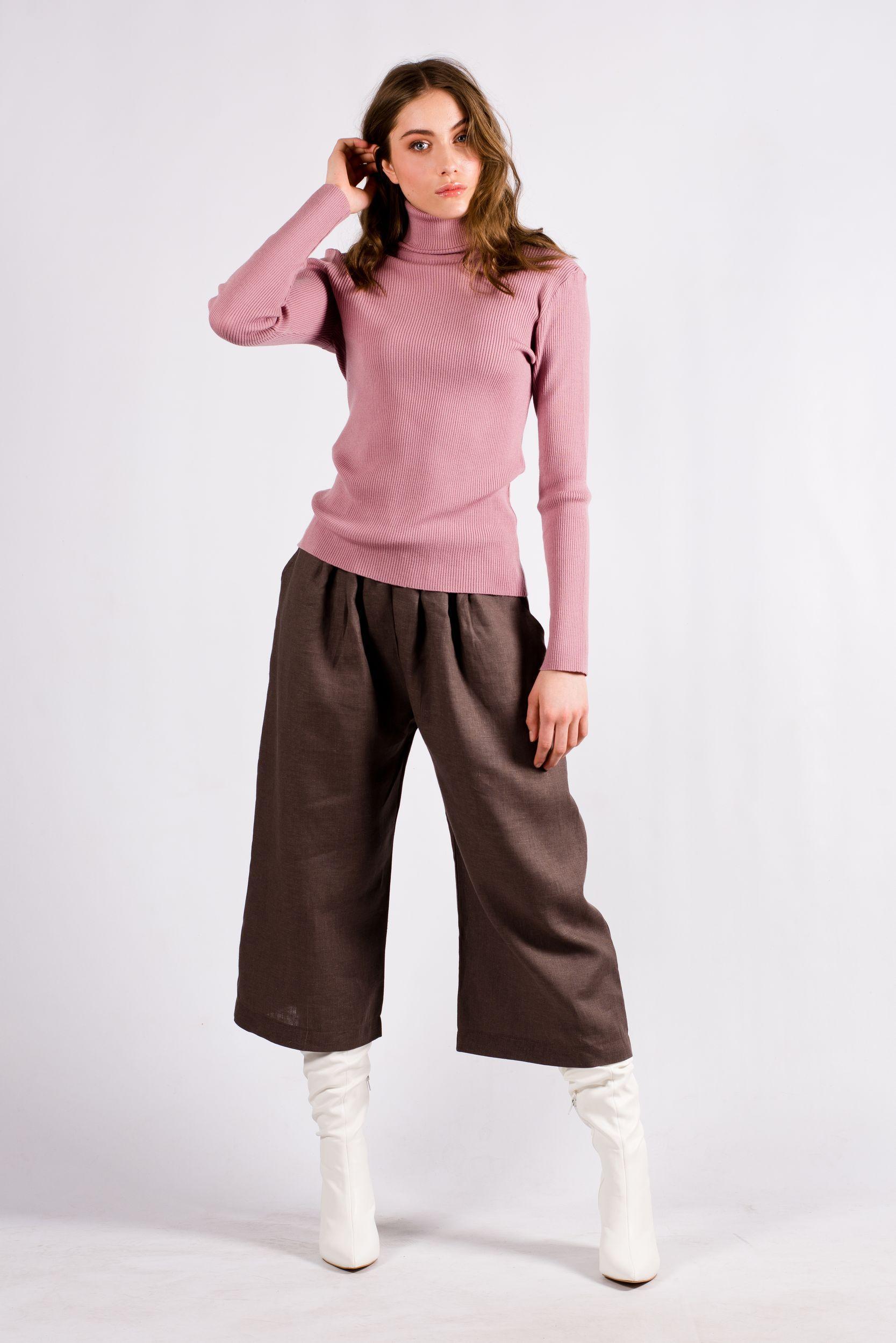 Dark pink womens turtleneck sweater HELGA