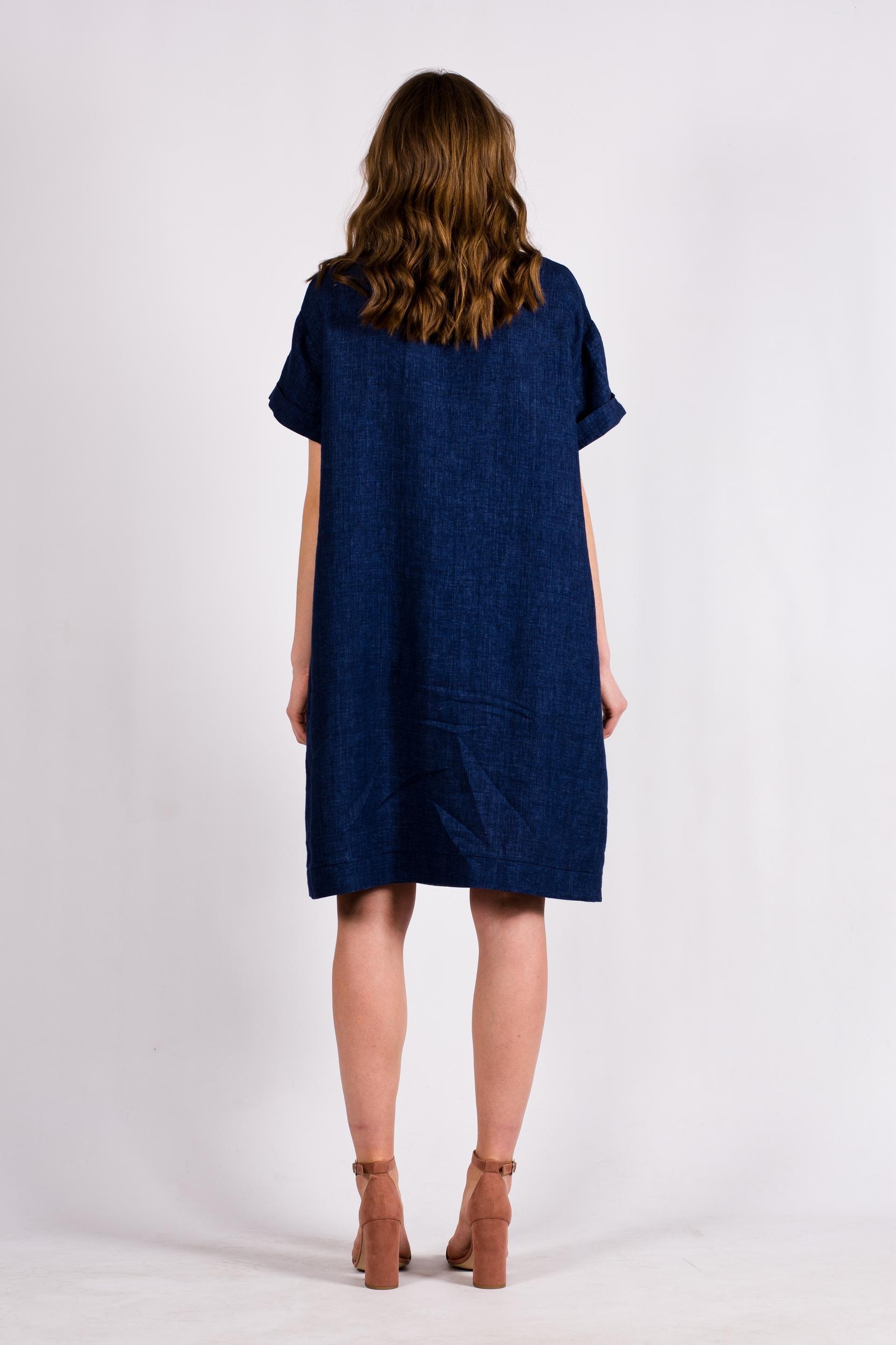 Denim blue linen dress tunic