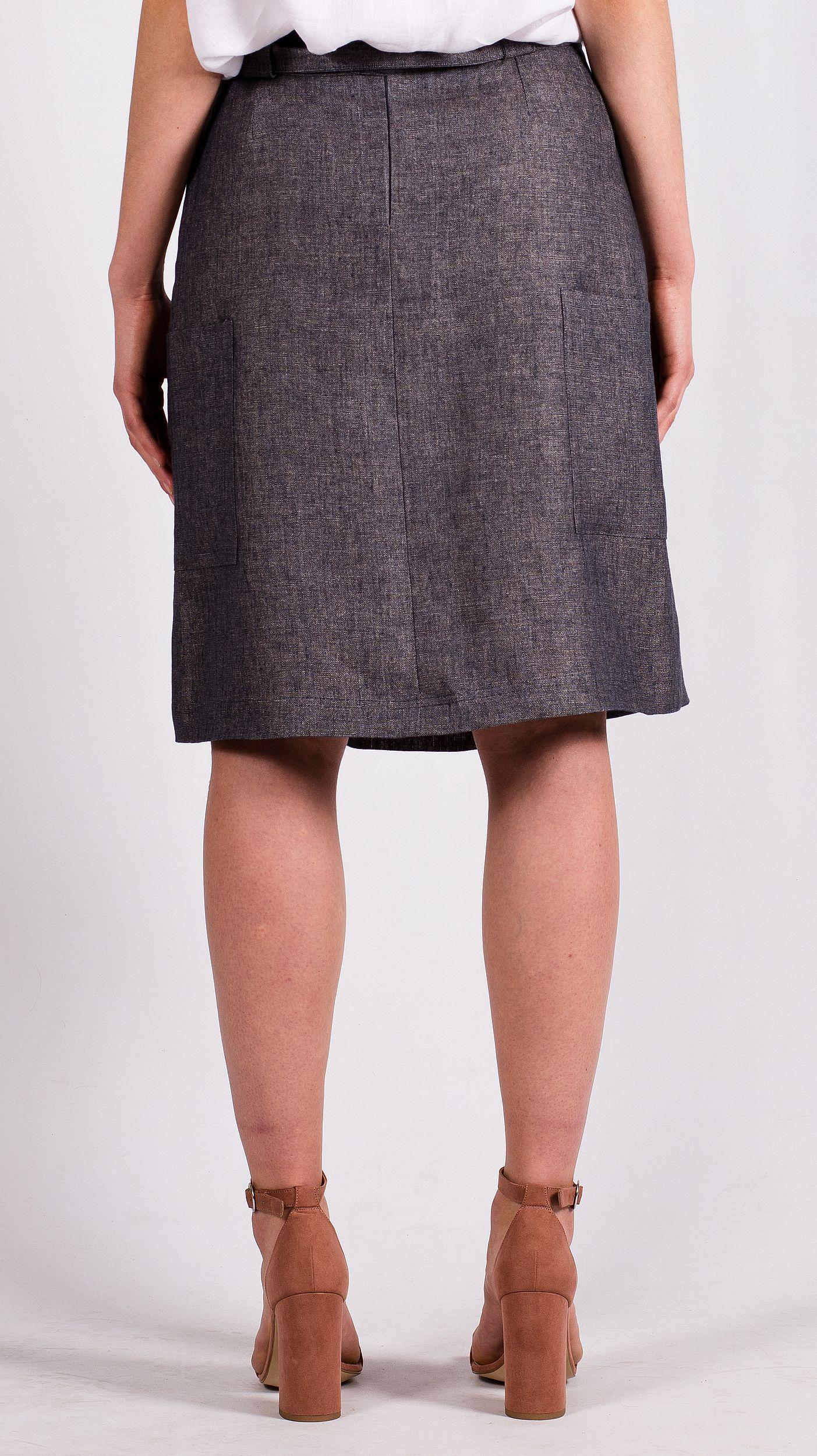 Grey linen skirt