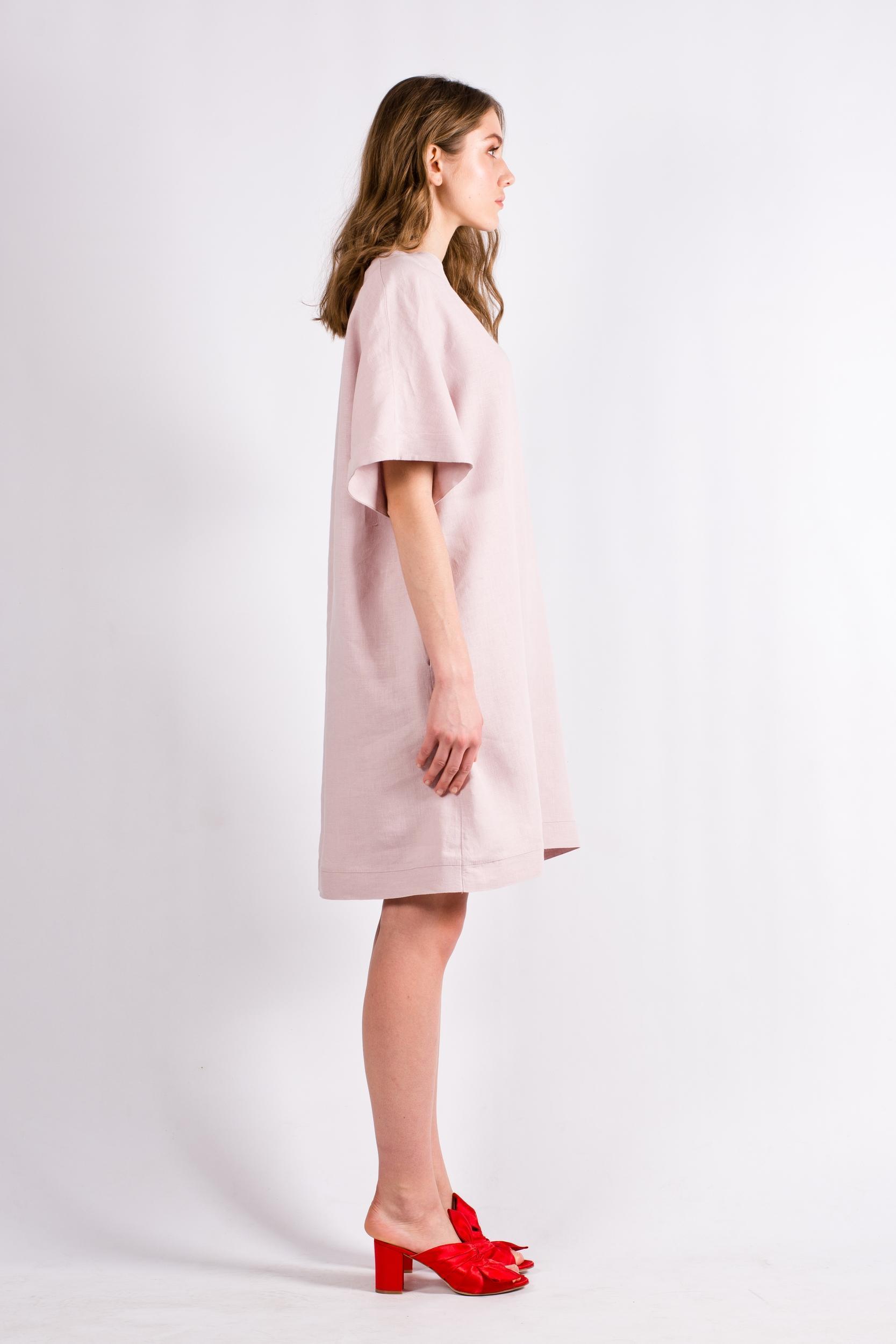 Light pink womens shift dress kimono ALBA